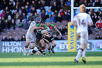 Mark Lambert of Harlequins is tackled by Fraser McKenzie of Newcastle Falcons during the Aviva Premiership match between Harlequins and Newcastle Falcons at the Twickenham Stoop on Saturday 15th February 2014 (Photo by Rob Munro)