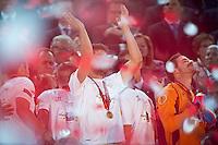 Rakitic Ivan upper the UEFA cup during the UEFA Final match  between Benfica vs Sevilla, on May 14, 2014. Photo: Adamo Di Loreto/NurPhoto