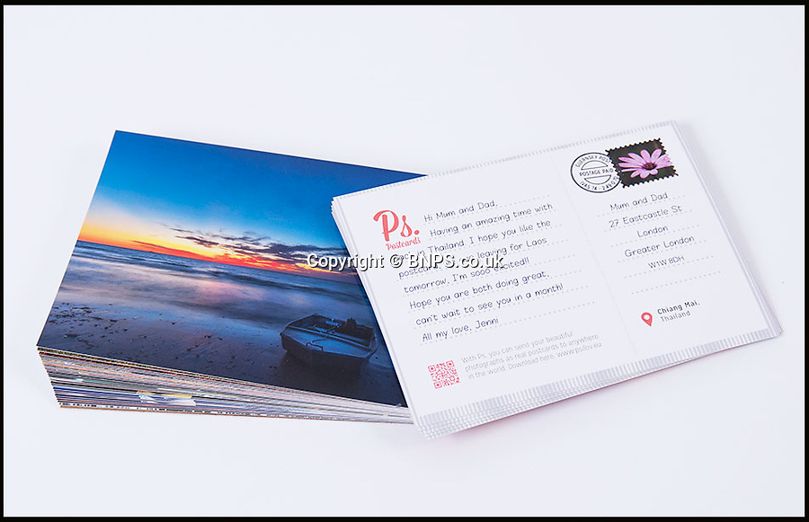 BNPS.co.uk (01202 558833)<br /> Picture: PsPostcards/BNPS<br /> <br /> Wish you were here!<br /> <br /> A revolutionary app has been invented that will send postcards for lazy holidaymakers who struggle to find the time themselves.<br /> <br /> Instead of rushing to the shops to find a stamp or struggling to locate a post box when abroad, the new mobile phone application will post the message for just £1.49.<br /> <br /> The programme allows a user to upload their own photo or choose from a range of pre-loaded pictures for the front of the card and will print their own message on the back.