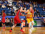 BROOKINGS, SD - NOVEMBER 12:  Clarissa Ober #21 from South Dakota State University looks at the basket past Sydney Bauman #34 from Southern Illinois Edwardsville at Frost Arena November 13, 2016 in Brookings, South Dakota. (Photo by Dave Eggen/Inertia)