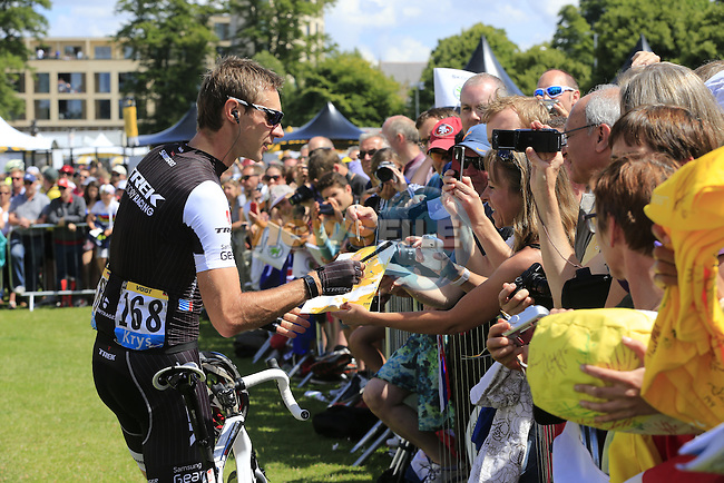 Jens Voigt (GER) Trek Factory with the fans at sign on in Cambridge before the start of Stage 3 of the 2014 Tour de France running 155km from Cambridge to London. 7th July 2014.<br /> Picture: Eoin Clarke www.newsfile.ie