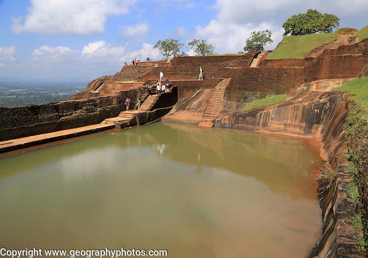 Bathing pool in rock palace fortress on rock summit, Sigiriya, Central Province, Sri Lanka, Asia