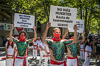 PAMPLONA, SPAIN - July 07: Activists from PETA and AnimaNaturalis groups stand outside of the bullring to demand the end of the bullfights. Although the festival is suspended due to the Covid-19 pandemic, these two groups have maintained their annual mobilization. In Pamplona, Spain July 07,2020. (Photo by Maite H. Mateo /VIEWpress via Getty Images)