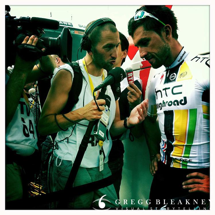 2011 Tour de France - Stage 15 - Montpellier, France - Bernhard Eisel giving interview, Team HTC - Highroad