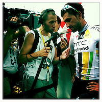 2011 Tour de France - Stage 15 - Montpellier, France - Bernhard Eisel giving interview, Team HTC - Highroad