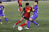 Buffalo, NY - Saturday Sept. 17, 2016: Taylor Smith, Sunisa Srangthaisong during a friendly international match between the Western New York Flash and the Women's National Team of Thailand at Demske Sports Complex at Canisius College. The United States defeated the Netherlands 3-1.
