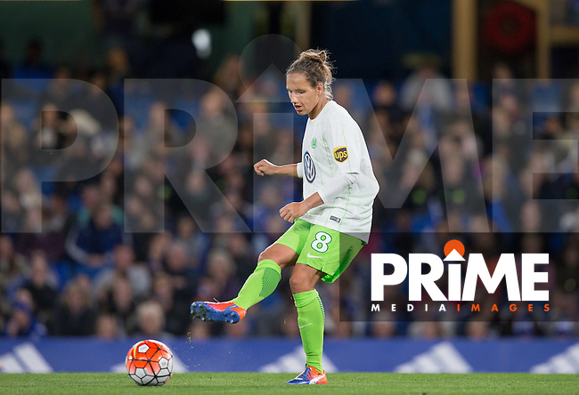 Babett Peter of VfL Wolfsburg (women) during the UEFA Women's Champions League match between Chelsea Ladies and VfL Wolfsburg at Stamford Bridge, London, England on 5 October 2016. Photo by Andy Rowland.