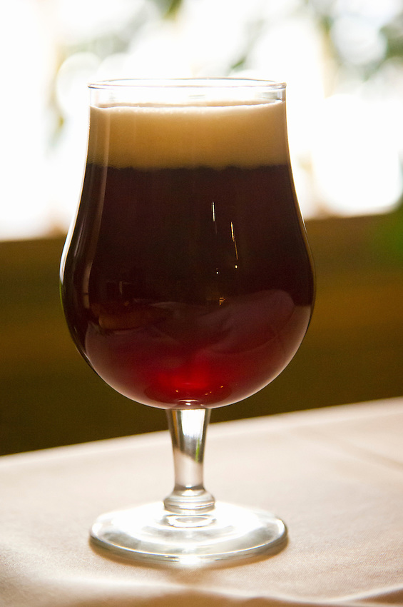 A glass of the Downtown Broawn Ale at the Michigan House Cafe and Brewpub in Calumet, Michigan.
