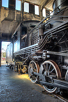Steam Locomotive in the roundhouse at the Roundhouse Railroad Museum, Savannah, GA