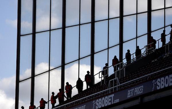 Boleyn Ground GV - Groundsmen line up to check for broken seats before the match..Football - Barclays Premiership - West Ham United v Sunderland - Saturday 22nd September 2012 - Boleyn Ground - London..