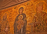 The Comnenus mosaic, dates to 1122, in the Hagia Sophia the eastern wall of the southern gallery; the mosaic shows emperor John II Comnenus and Empress Irene on either side of the Virgin Mary