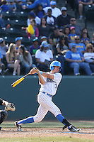 Chris Bono #3 of the UCLA Bruins bats against the Cal Poly Mustangs at Jackie Robinson Stadium on February 22, 2014 in Los Angeles, California. Cal Poly defeated UCLA, 8-0. (Larry Goren/Four Seam Images)