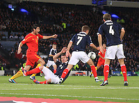 Andy Webster forcing his way in the box helped by James Morrison in the Scotland v Macedonia FIFA World Cup Qualifying match at Hampden Park, Glasgow on 11.9.12.