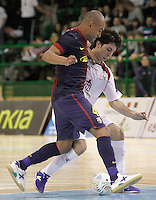Caja Segovia's Jesus Murga and FC Barcelona Alusport's Ari Santos (r) during Spanish National Futsal League match.November 24,2012. (ALTERPHOTOS/Acero) /NortePhoto