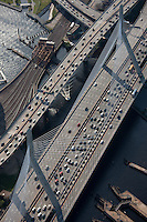 Zakim Bridge aerial view, Boston, MA