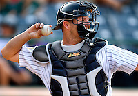 A Charlotte Knights baseball catcher during the 2008 season.