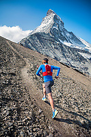 Trail running beneath the Matterhorn, above Zermatt, Switzerland.