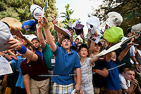 Fans yell to get autographs during the Quail Hollow Championship 2009 Pro-Am in Charlotte, North Carolina. The Pro-Am is held as part of the professional championship, formerly called the Wachovia Championship, which is a top event on the PGA Tour, attracting such popular golf icons as Tiger Woods, Vijay Singh and Bubba Watson.