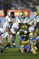 1 October 2006: Trevor Hooper, Michael Okwo and Ekom Udofia during Stanford's 31-0 loss to UCLA at the Rose Bowl in Pasadena, CA.