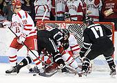 1Wade Megan (BU - 18), Shane Luke (PC - 20), Garrett Noonan (BU - 13), Kieran Millan (BU - 31), Drew Brown (PC - 7), Matt Bergland (PC - 17) - The Boston University Terriers defeated the visiting Providence College Friars 6-1 on Friday, January 20, 2012, at Agganis Arena in Boston, Massachusetts.