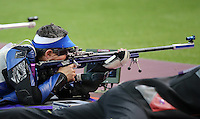 03.08.2012. London, England. Rajmond Debevec of Slovenia takes Part in Mens Shooting 50m rifle Prone Competition  London 2012 Olympic Games  Rajmond Debevec of Slovenia Won Bronze Medal