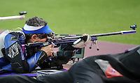 03.08.2012. London, England. Rajmond Debevec of Slovenia takes Part in Mens Shooting 50m rifle Prone Competition  London 2012 Olympic Games  Rajmond Debevec of Slovenia Won Bronze Medal