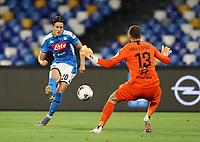 5th July 2020; Stadio San Paolo, Naples, Campania, Italy; Serie A Football, Napoli versus Roma; Piotr Zielinski of Napoli sees his shot on goal saved by goalkeeper Pau López of Roma