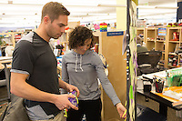 Nick Symmonds visits Brooks Running Company in Seattle, WA on March 18, 2014 to meet with shoe designers and the public relations team.
