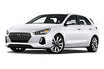 Stock pictures of low aggressive front three quarter view of a 2018 Hyundai Elantra GT GT Sport MT 5 Door Hatchback