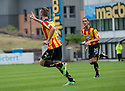 Partick's Stephen O'Donnell celebrates after he scores their first goal.