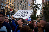 New York, New York<br /> October 5, 2011<br /> <br /> Occupy Wall Street protesters march from Foley Square down Broadway to their encampment at Zuccotti Park. The police cordon off the area and control thousands of protesters.<br /> <br /> The participants of the event, that began on September 17,  are mainly protesting against social and economic inequality, corporate greed, and the influence of corporate money and lobbyists on government, among other concerns.<br /> <br /> About 1,000 people have been arrested so far - most on misdemeanor disorderly conduct charges related to blocking traffic or refusing police orders to move.