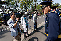 Ikumi Saito protesting at a Zengakuren student union demo at Hosei University Campus. Ichigaya, Tokyo, Japan. Friday April 25th 2014