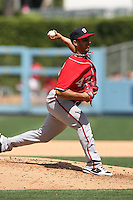 04/29/12 Los Angeles, CA: Washington Nationals starting pitcher Gio Gonzalez #47 during an MLB game between the Washington Nationals and the Los Angeles Dodgers played at Dodger Stadium. The Dodgers defeated the Nationals 2-0.