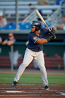Connecticut Tigers designated hitter Randel Alcantara (1) at bat during a game against the Auburn Doubledays on August 9, 2017 at Falcon Park in Auburn, New York.  Connecticut defeated Auburn 6-4.  (Mike Janes/Four Seam Images)