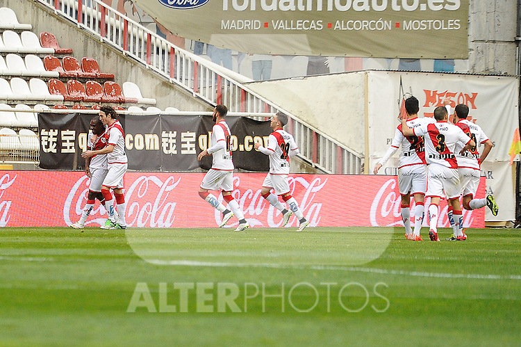 Rayo Vallecano´s Gael Kakuta celebrates a goal during 2014-15 La Liga match between Rayo Vallecano and Malaga CF at Rayo Vallecano stadium in Madrid, Spain. March 21, 2015. (ALTERPHOTOS/Luis Fernandez)