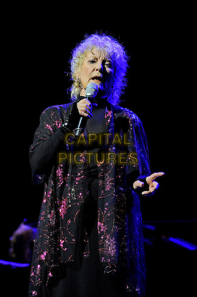Petula Clark <br /> performing in concert, Theatre Royal, Drury Lane, London, England. <br /> 13th October 2013<br /> on stage live gig performance music black purple floral print jacket singing <br /> CAP/MAR<br /> &copy; Martin Harris/Capital Pictures