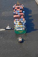 Teamwork: EUROPA, DEUTSCHLAND, HAMBURG, (EUROPE, GERMANY), 06.09.2007: Container, Verladung, Containerverladung, Hamburger Hafen, HHLA, Elbe, Schiff, Seeschiff, Containerschiff, Logistik, Transport, Wirtschaft, Boom, Schatten, Elbe, Ausbau, Erweiterung, Container Terminal Burchardkai, Eurokai, Waltershof, Burcharkai, Athabaskakai, Predoehlkai, Schlepper, druecken, ziehen, Teamwork, anlegen, klein, gross, Riese, Zwerg,  Luftbild, Luftansicht, Luftaufnahme, Aufwind-Luftbilder.c o p y r i g h t : A U F W I N D - L U F T B I L D E R . de.G e r t r u d - B a e u m e r - S t i e g 1 0 2, .2 1 0 3 5 H a m b u r g , G e r m a n y.P h o n e + 4 9 (0) 1 7 1 - 6 8 6 6 0 6 9 .E m a i l H w e i 1 @ a o l . c o m.w w w . a u f w i n d - l u f t b i l d e r . d e.K o n t o : P o s t b a n k H a m b u r g .B l z : 2 0 0 1 0 0 2 0 .K o n t o : 5 8 3 6 5 7 2 0 9.C o p y r i g h t n u r f u e r j o u r n a l i s t i s c h Z w e c k e, keine P e r s o e n l i c h ke i t s r e c h t e v o r h a n d e n, V e r o e f f e n t l i c h u n g  n u r  m i t  H o n o r a r  n a c h M F M, N a m e n s n e n n u n g  u n d B e l e g e x e m p l a r !.