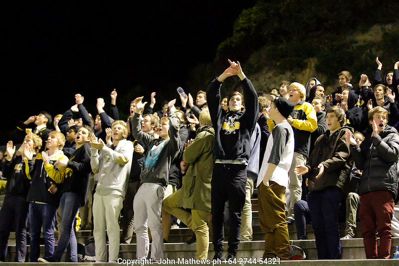 Wellington College supporters celebrate their teams goal at the Premier 1 final between Hutt International Boys School and Wellington College played at the National Hockey Stadium, Newtown, Wellington, New Zealand on 21 September 2012. Photos; john.mathews@xtra.co.nz