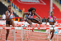 Tobi Amusan (Nigeria) on her way to 2nd place in the women's 100m hurdles during the IAAF Diamond League Athletics Müller Grand Prix Birmingham at Alexander Stadium, Walsall Road, Birmingham on 18 August 2019. Photo by Alan  Stanford.