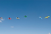 Brasilia, Brazil. String of colourful kites flying in the wind.