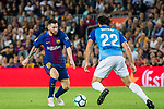 Lionel Andres Messi (l) of FC Barcelona fights for the ball with Paul Baysse of Malaga CF during the La Liga 2017-18 match between FC Barcelona and Malaga CF at Camp Nou on 21 October 2017 in Barcelona, Spain. Photo by Vicens Gimenez / Power Sport Images