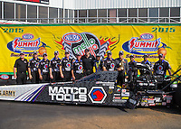 May 17, 2015; Commerce, GA, USA; NHRA top fuel driver Antron Brown celebrates with crew after winning the Southern Nationals at Atlanta Dragway. Mandatory Credit: Mark J. Rebilas-USA TODAY Sports