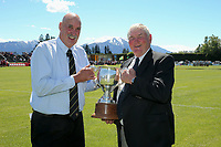 Jock Ross and Sir Brian Lochore with the Lochore Cup before the Mitre 10 Heartland Championship Lochore Cup rugby final between Mid Canterbury and West Coast at Methven Domain in Methven, New Zealand on Sunday, 29 October 2017. Photo: Martin Hunter / lintottphoto.co.nz