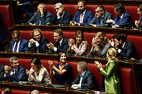 Democratic Party Deputies applause sting Conte's speech<br /> Rome September 9th 2019. Lower Chamber. Programmatic speech of the new appointed Italian Premier at the Chamber of Deputies to explain the program of the yellow-red executive. After his speech the Chamber is called to the trust vote at the new Government. <br /> Foto  Samantha Zucchi Insidefoto