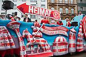 Düsseldorf, Germany. 27 February 2017. Float of football club Fortuna Düsseldorf. Carnival parade on Shrove Monday (Rosenmontag) in Düsseldorf, North Rhine-Westphalia, Germany.