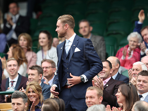 02.07.2016. All England Lawn Tennis and Croquet Club, London, England. The Wimbledon Tennis Championships Day Six. Guests in the Royal Box on Centre Court today included stars of the sporting world including England test bowler Stuart Broad.