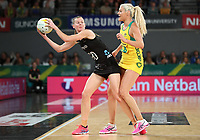 23.09.2018 Silver Ferns Katrina Grant and Australia's Gretel Tippett in action during the Silver Ferns v Australia netball test match at the Melbourne Arena in Melbourne, Australia. Mandatory Photo Credit ©Michael Bradley.