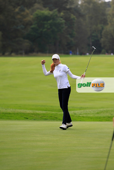 Mathilda Capelliez (FRA) on the 2nd green of the Mixed Fourballs during the 2014 JUNIOR RYDER CUP at the Blairgowrie Golf Club, Perthshire, Scotland. <br /> Picture:  Thos Caffrey / www.golffile.ie