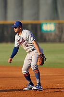 Kingsport Mets first baseman Kenny Hernandez (5) in the field during a game against the Burlington Royals at Burlington Athletic Complex on July 28, 2018 in Burlington, North Carolina. Burlington defeated Kingsport 4-3. (Robert Gurganus/Four Seam Images)