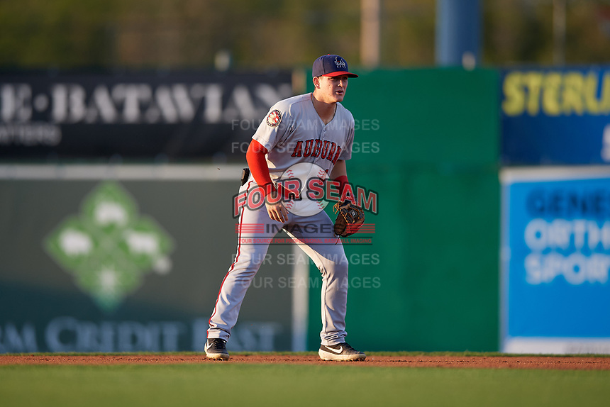 Auburn Doubledays second baseman J.T. Arruda (4) during a NY-Penn League game against the Batavia Muckdogs on August 31, 2019 at Dwyer Stadium in Batavia, New York.  Auburn defeated Batavia 12-5.  (Mike Janes/Four Seam Images)